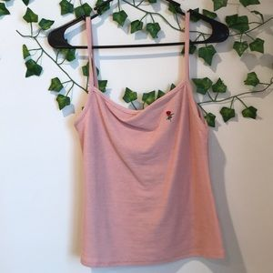 pink cami with rose detail